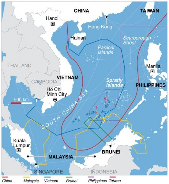 Maritime claims in the South China Sea. (Image: wikimedia / CC0 1.0)