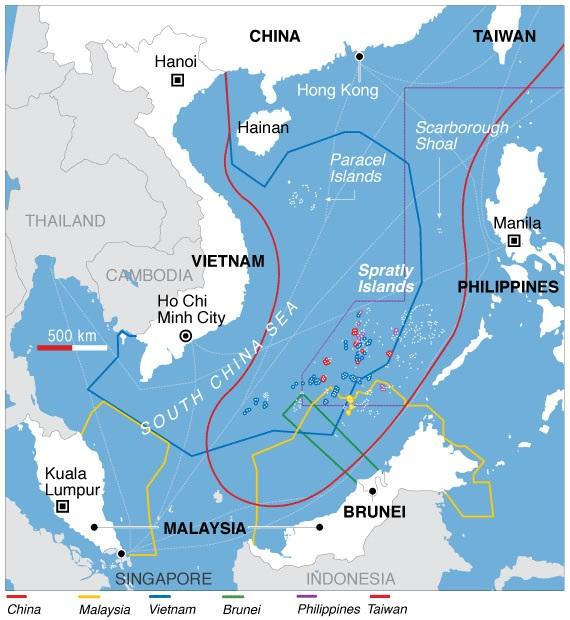 Maritime claims in the South China Sea. (Image: wikimedia / CC0 1.0)