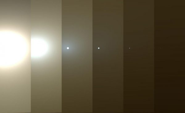 This series of images shows simulated views of a darkening Martian sky blotting out the Sun from NASA's Opportunity rover's point of view, with the right side simulating Opportunity's current view in the global dust storm (June 2018). (Image: NASA)