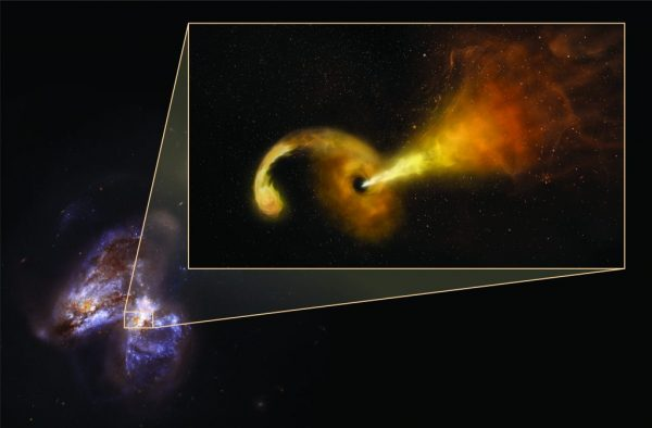 Artist's conception of Tidal Disruption Event (TDE) in Arp 299. Powerful gravity of supermassive black hole shreds passing star, pulling material into disk rotating around the black hole, and launching jet of particles outward. Artist's conception in pullout -- background is Hubble Space Telescope image of Arp 299, a pair of colliding galaxies. (Image:: Sophia Dagnello, NRAO/AUI/NSF; NASA, STScI)