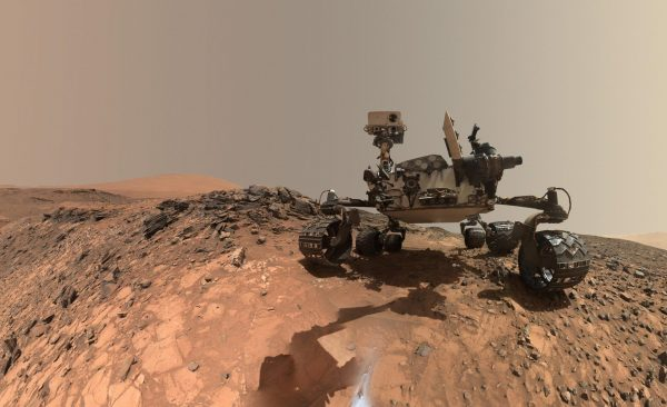 "This low-angle self-portrait of NASA's Curiosity Mars rover shows the vehicle at the site from which it reached down to drill into a rock target called ""Buckskin"" on lower Mount Sharp. (Credits: NASA/JPL-Caltech/MSSS)"