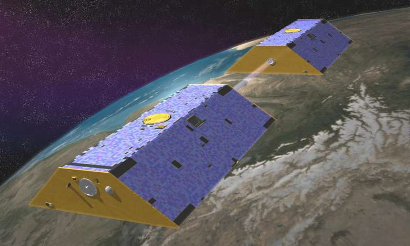 Artist's rendering shows the twin spacecraft of the Gravity Recovery and Climate Experiement Follow-On (GRACE-FO) mission, a partnership between NASA and the German Research Centre for Geosciences GFZ. (Image credit: NASA JPL/Caltech)