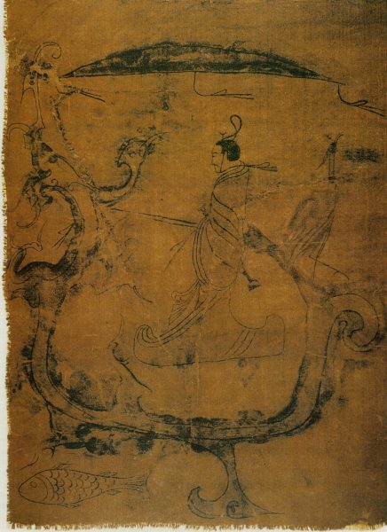 Silk painting depicting a man riding a dragon dated to the Zhou Dynasty. (Image: wikimedia / CC0 1.0)
