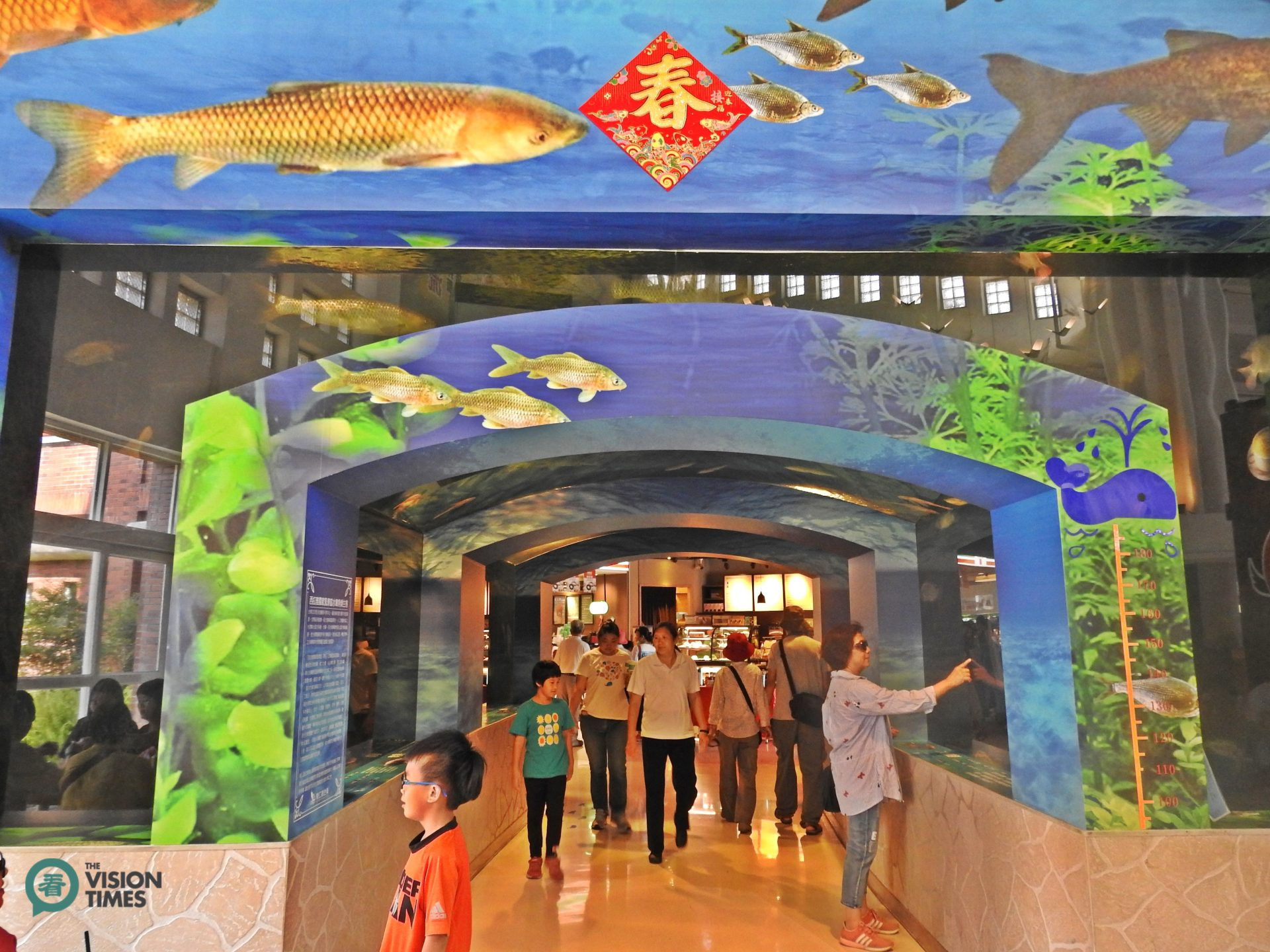 A 6-meter aquarium at the Dongshan Service Area. (Image: Billy Shyu / Vision Times)