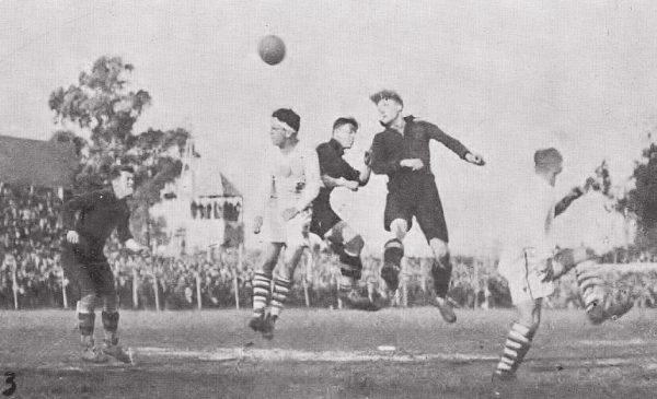 Photo of the match between the United States and Belgium at the 1930 FIFA World Cup (Gran Parque Central stadium). USA won by 3-0. See page for author [Public domain or Public domain], via Wikimedia Commons