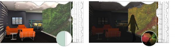 Perspective images of a conceptual phytosensor (plant) wall. Shown left is the lighted room, and shown right is the darkened room under sense-and-report photonic conditions. The glass partition (inset on left) concentrates HVAC return air across fungal VOC-sensing houseplants. The inset image on the right shows an engineered Nicotiana plant for constitutive expression of GFP yielding green fluorescence under built-in blue or UV lights next to a wild type red fluorescent plant under the same conditions. Photo (inset, right) by Francisco Palacios. Design renderings by Susan G. Stewart and Rana Abudayyeh.