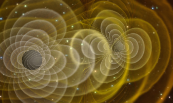 A visualization of a supercomputer simulation of merging black holes sending out gravitational waves. (Credit: NASA/C. Henze)
