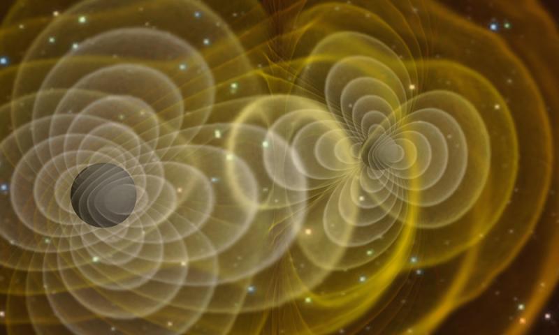 A visualization of a supercomputer simulation of merging black holes sending out gravitational waves. (Credit: NASA/C. Henze)