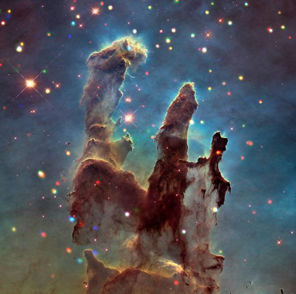 Using Chandra, researchers detected over 1,700 individual sources of X-rays in the Eagle Nebula (only a fraction are seen in this small field of view). (Image credit: NASA/CXC/INAF/M.Guarcello et al.; Optical: NASA/STScI)