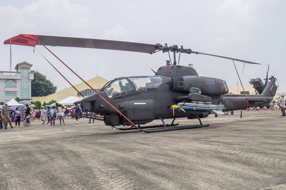 An AH-1W Super Cobra attack helicopter is displayed at the air show on August 11, 2018. (Image: Courtesy of Wang Chia Yi)