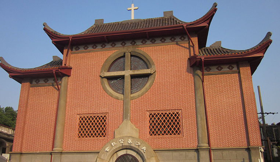 View of a Christian church in Changsha, China.