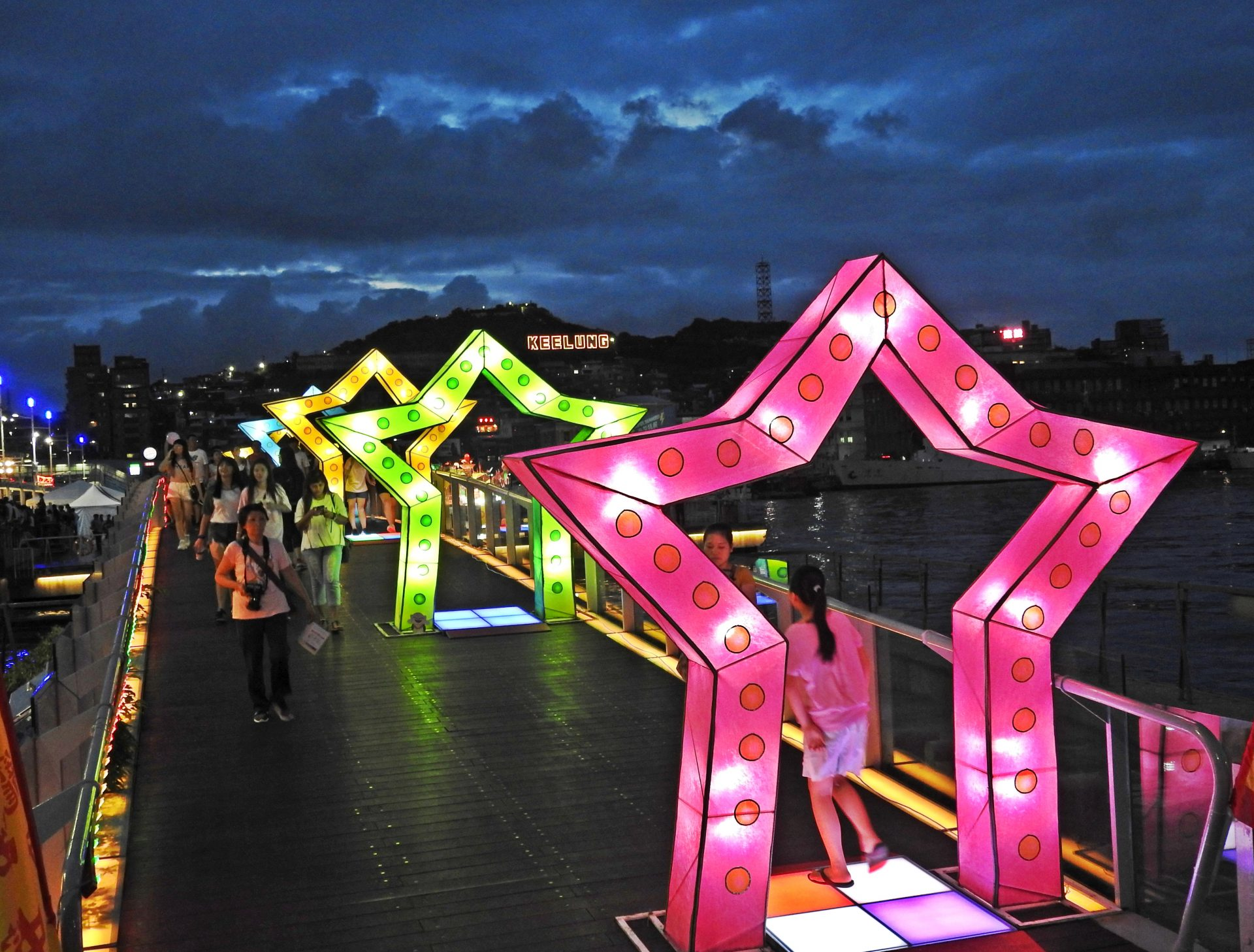 To celebrate the Keelung Ghost Festival, during the Ghost Month, the Keelung Maritime Plaza is colorfully decorated. (Image: Billy Shyu / Vision Times)