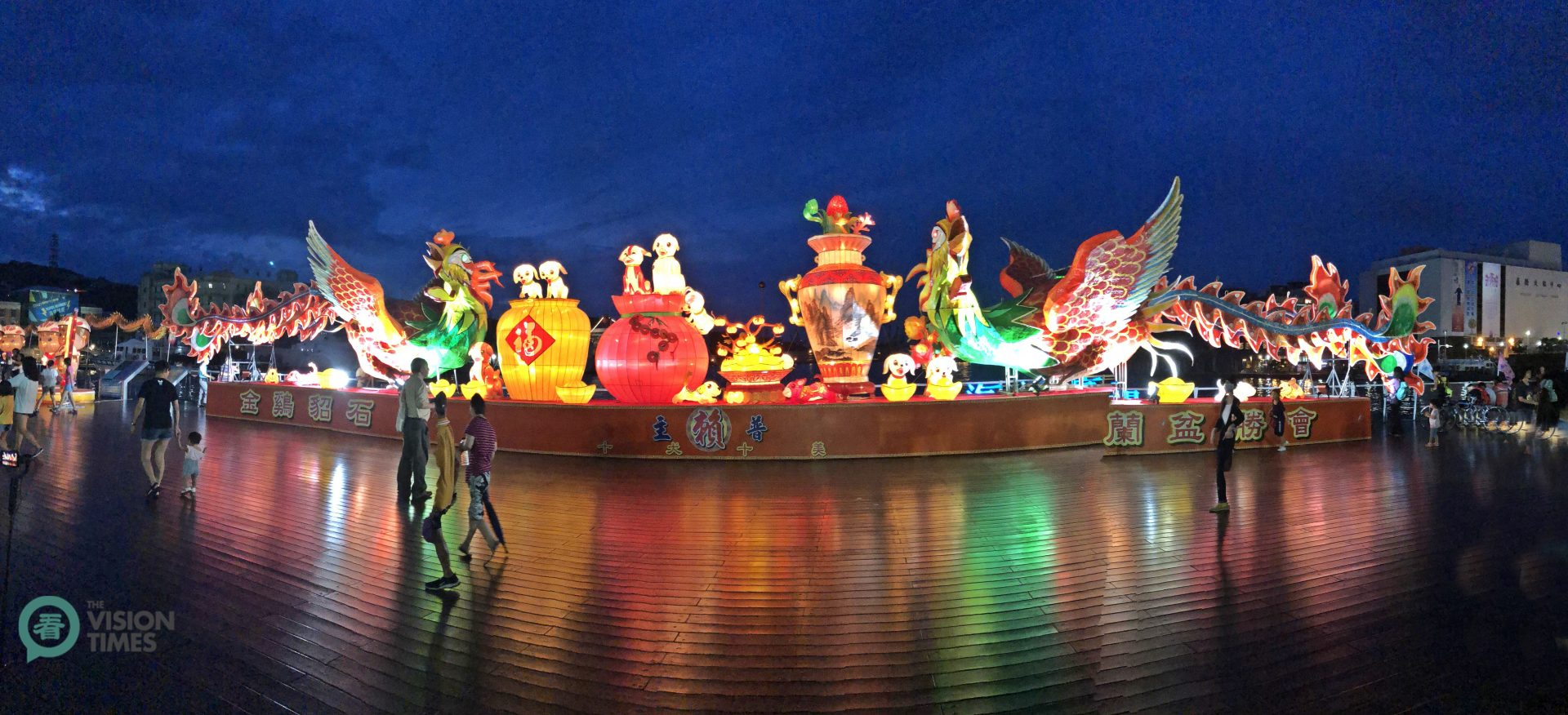 During the Ghost Month, the Keelung Maritime Plaza (基隆海洋廣場) is richly decorated. (Image: Billy Shyu / Vision Times)
