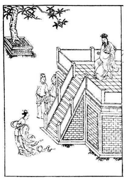 The picture shows the illustration of Chu Cheng Zheng Yu by Liu Xiang, The Woman Biography of the Western Han Dynasty. (public domain)