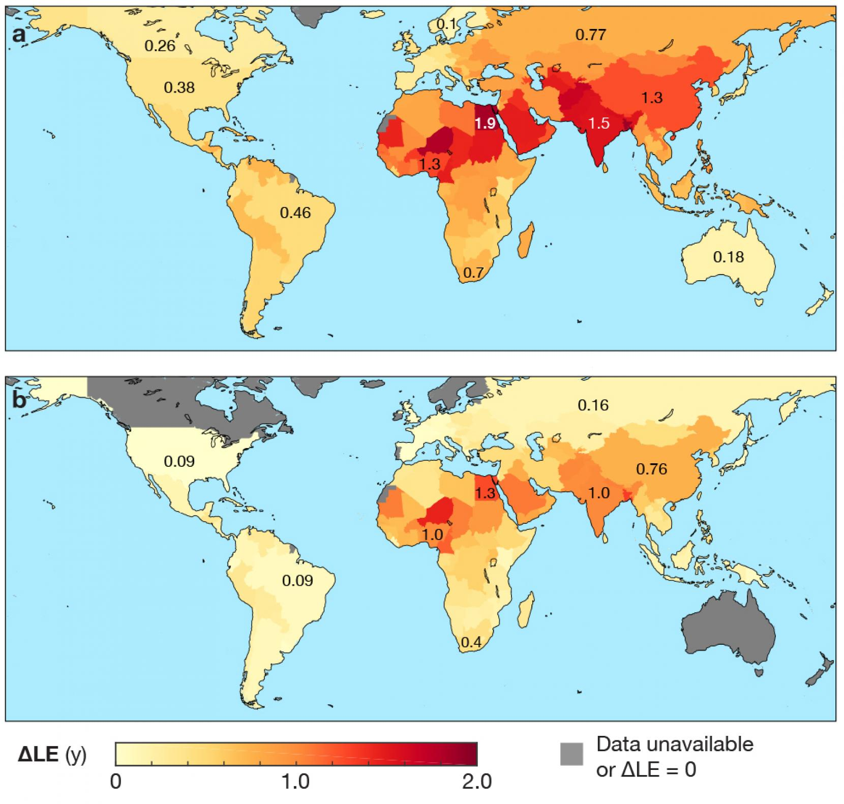 Upper panel a: How air pollution shortens human life expectancy around the world. Lower panel b: Gains in life expectancy that could be reached by meeting World Health Organization guidelines for air quality around the world. (Image: University of Texas at Austin)