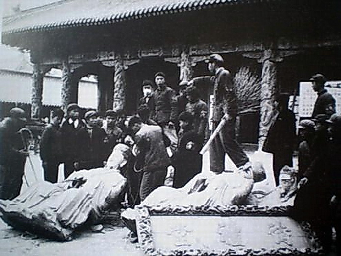 China Cultural Revolution. Looting and Destruction of Figurines in front of Confucius Temple.