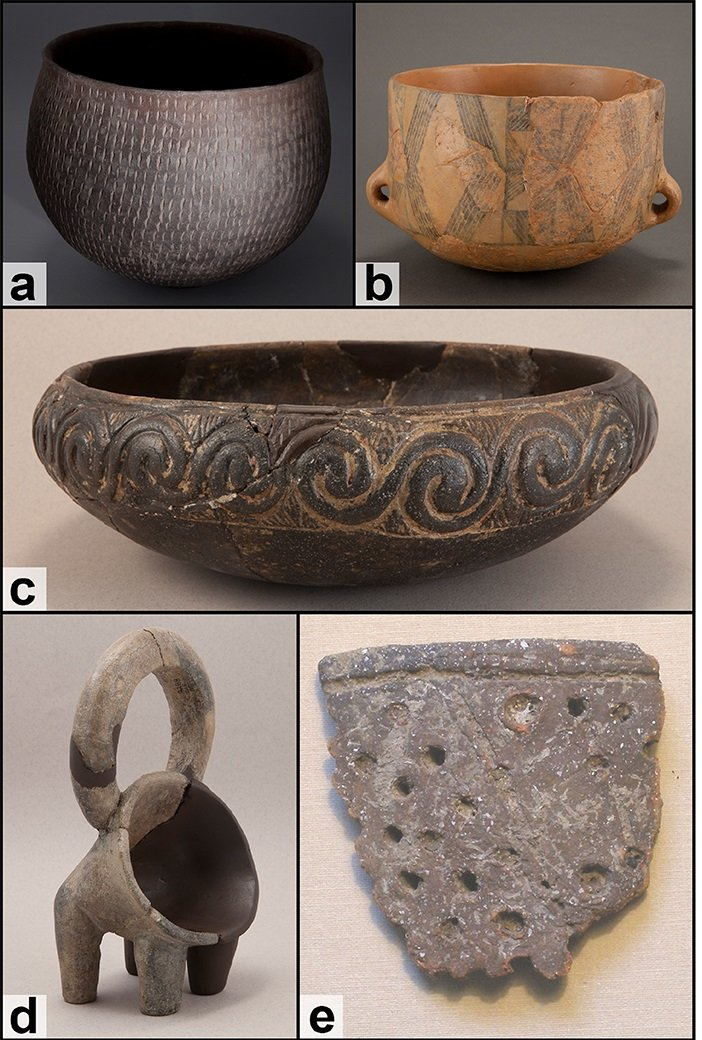 Pottery samples were selected from stratigraphic levels with radiocarbon dates generated on bones and seeds (see S1 Table for details). Examples of pottery types from the Dalmatian Neolithic: a. Impresso Ware; b. Figulina; c. Danilo fine ware; d. Rhyton; e. fragment of a sieve. (Photos printed under a CC BY license, with permission from Muzej Grada Šibenika 2018)