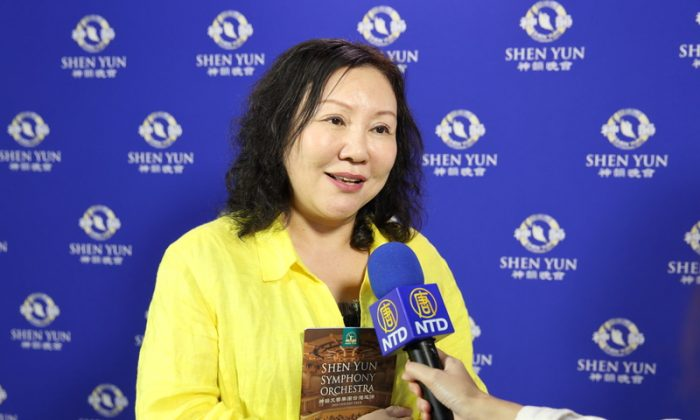 Rose Yu, director of Yintao Orchestra, enjoyed Shen Yun Symphony Orchestra's performance at Zhongli Arts Hall, Taoyuan, Taiwan, on the afternoon of Sept. 22, 2018. (Image: Lin Shijie / The Epoch Times)