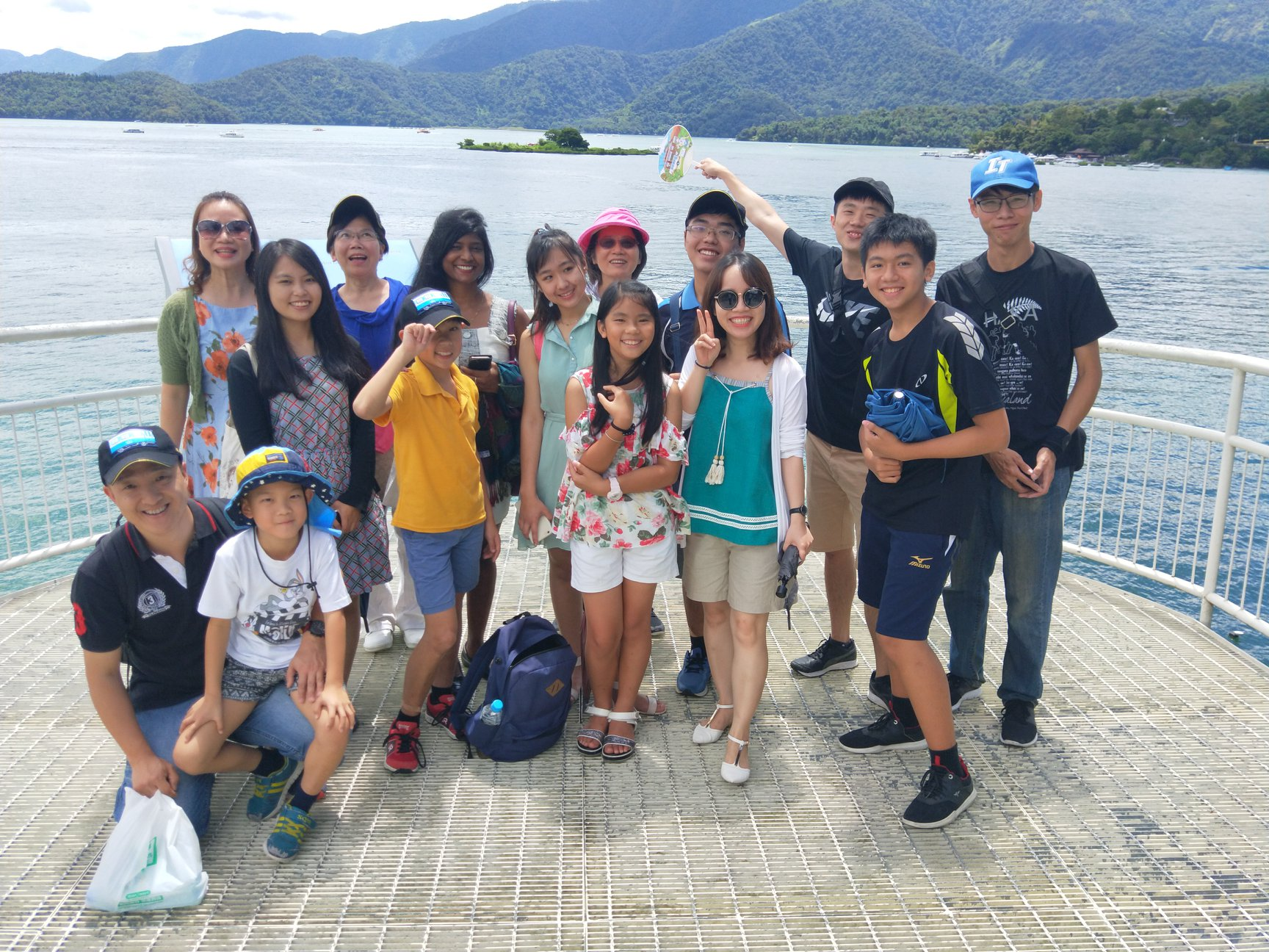Reena Augustine visited Sun Moon Lake along with some of the volunteers and students before the summer camp. (Image: Changhua Parent Union Advisory Council)