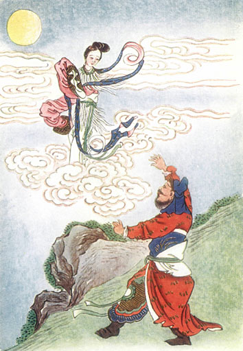As Hou Yi rushed home to save her, the elixir of immortality caused Chang'e to rise off the ground, flying out the window and towards the heavens. (Public Domain)