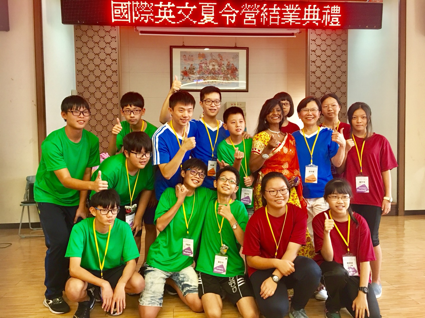 Reena Augustine poses with some of the students participating in the Changhua Parent Union Advisory Council. (Image: Changhua Parent Union Advisory Council)