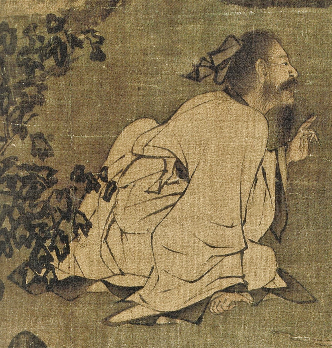 One of the brother leans forward making a point. The right hand presses on the ground and the left hand makes a gesture. He looks at the other brother while he talks to him. The high-spirited posture proves his determination of keeping his moral integrity under all circumstances. (Image: Secret China)
