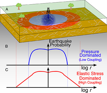 In this diagram of an injection operation, the blue and red areas represent the spatial footprint of induced seismicity for injection into basement rock (blue) or the overlying sedimentary layer (red). Gray lines represent the fault network. The graphs below show the corresponding earthquake probabilities as a function of distance from the well. (Image credit: Goebel and Brodsky, Science, 2018)