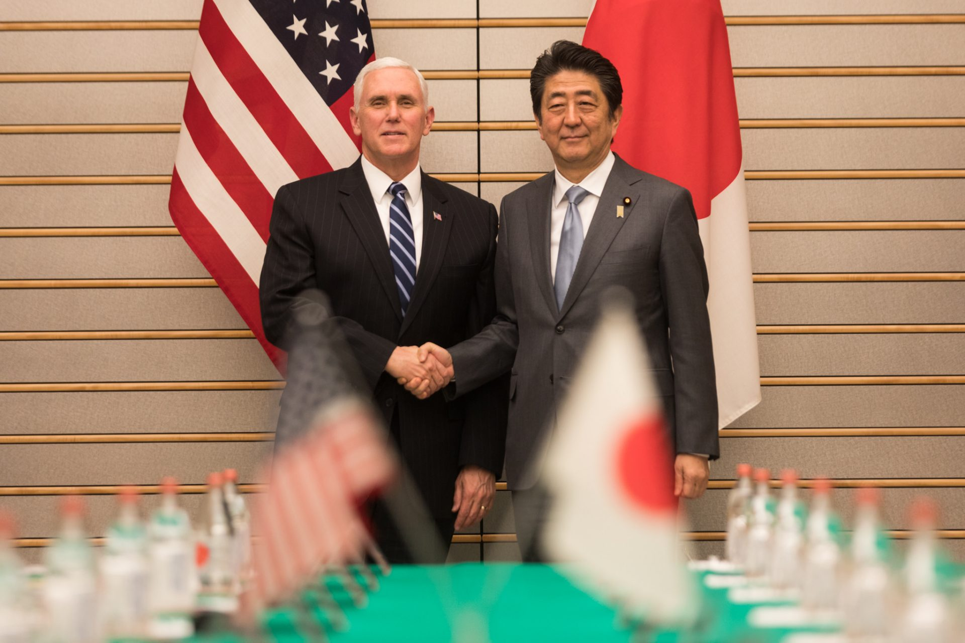 Vice President Mike Pence participates in an expanded bilateral meeting with Japanese Prime Minister Shinzo Abe, Wednesday, February 7, 2018, in Tokyo, Japan. (Image: Official White House Photo by D. Myles Cullen)
