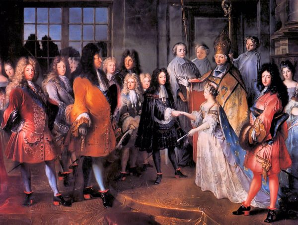 """""""The marriage of the Duke of Burgundy to Marie Adélaïde of Savoy"""" by Antoine Dieu. (Image Credit: Antoine Dieu [Public domain], via Wikimedia Commons)"""
