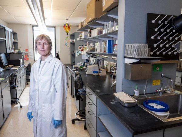 Corrie Detweiler in her lab at CU Boulder. (Credit: Patrick Campbell/CU Boulder)