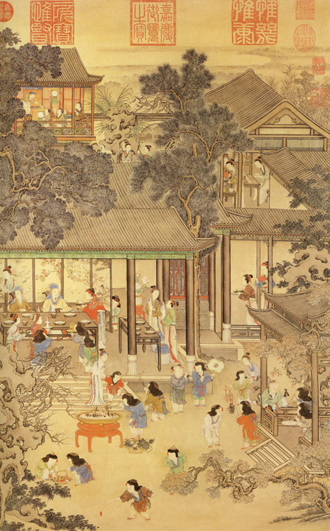 There is a painting called Celebrating the New Year which depicts a large family of the Qing Dynasty during festivities. (Image: Taipei National Palace Museum)
