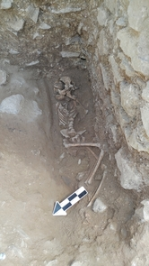 The 10-year-old was discovered lying on its side in a fifth-century Italian cemetery previously believed to be designated for babies, toddlers and unborn fetuses. (Photo courtesy of David Pickel/Stanford University)