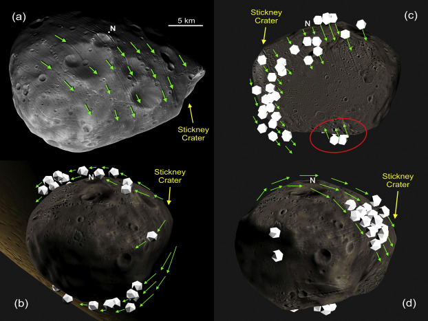Researchers used computer models to trace the possible path of boulders ejected from Stickney crater on Mars' moon Phobos. The simulations showed that boulders could have carved the iconic grooves seen on Phobos' surface. (Image: Ken Ramsley / Brown University)