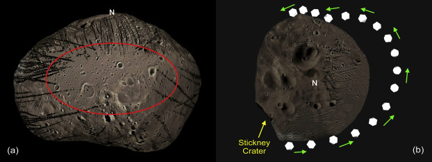The simulations show how boulders take a flying leap over one particular area of Phobos, explaining why it's devoid of grooves. (Image: Ken Ramsley / Brown University)