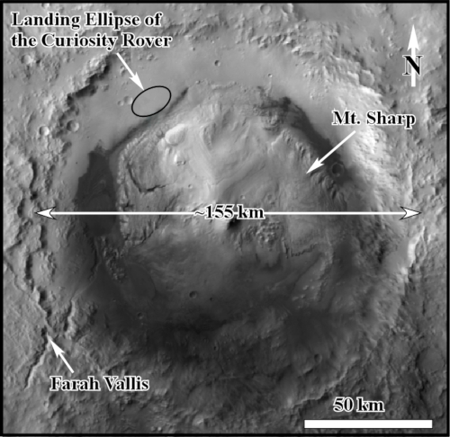The physiography of Gale Crater shown in a HiRISE map. Image: via Geological Society of America)