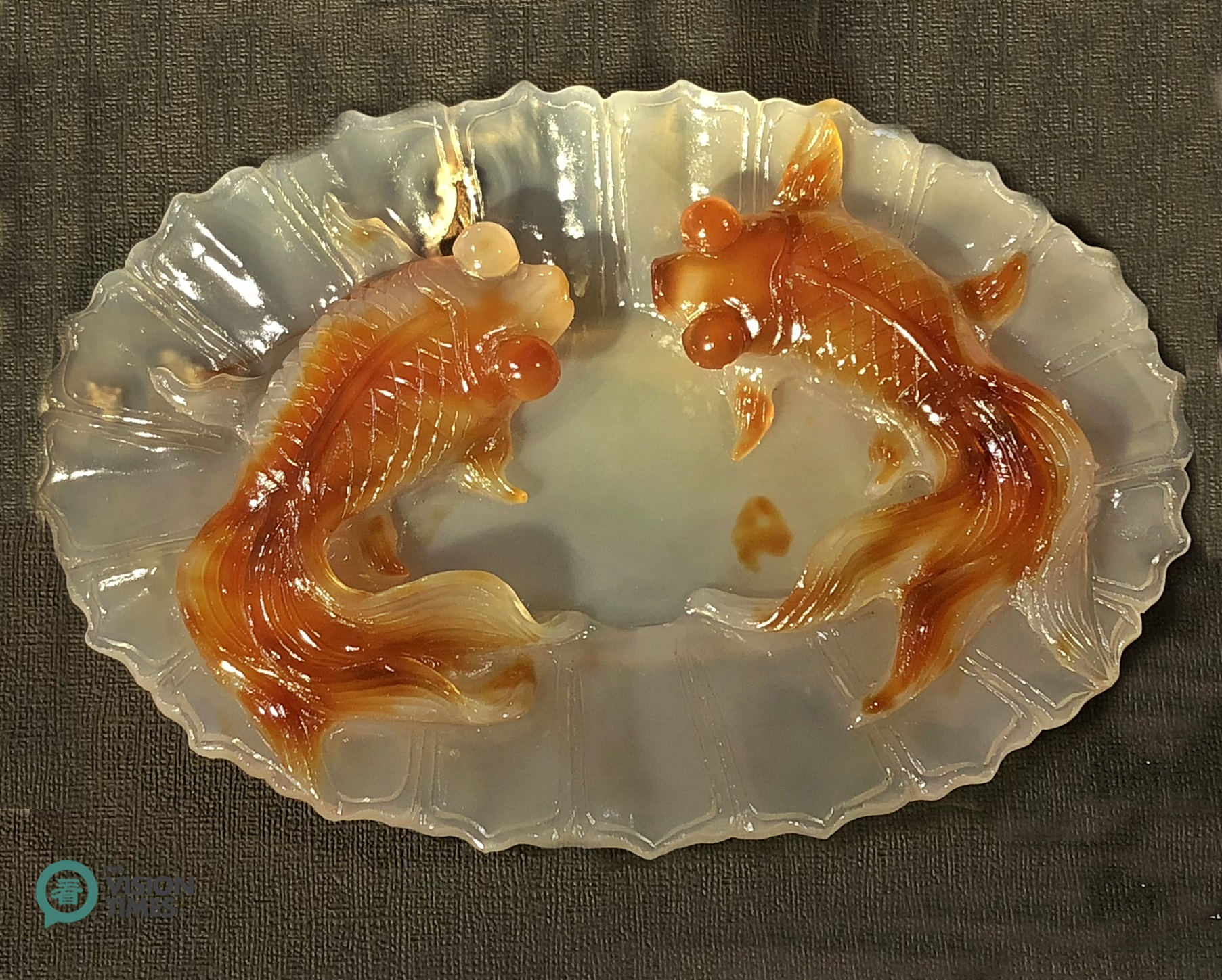One of the fish jade items displayed at the Commemorative Fish Jade Exhibition. Image: Billy Shyu / Vision Times)
