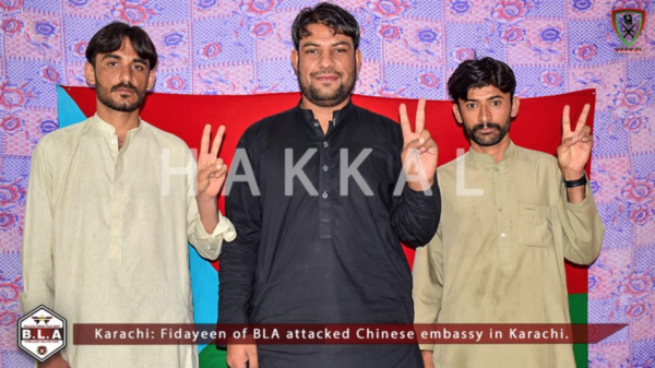 The BLA released an image of three young men it claimed were the attackers who attacked the Chinese consulate. (Image: Twitter )