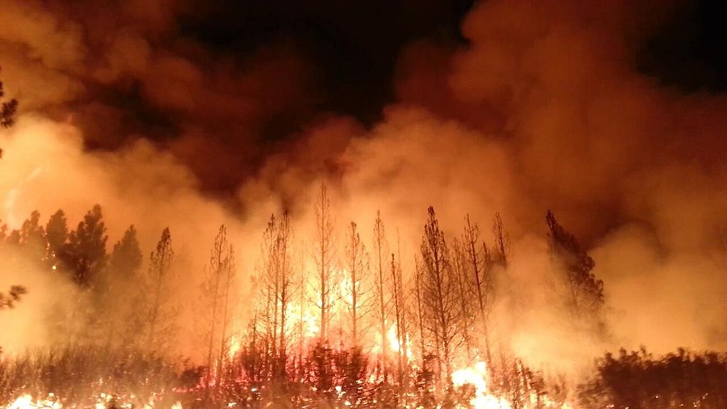 The 2013 Rim Fire east of Sonora, California, as large as it was, burned a surprisingly small number of structures — 11 homes, 3 commercial buildings, and 98 outbuildings. (Image: U.S. Department of Agriculture [Public domain], via Wikimedia Commons)