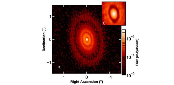 Synthesized image of the CI Tau continuum observation. (Image: via University of Cambridge)