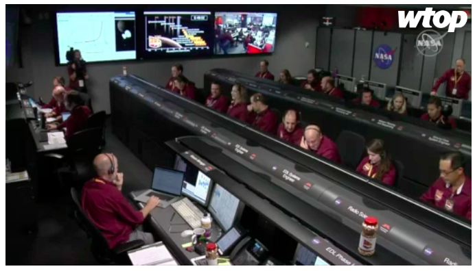 NASA staff shown in a livestream hours before the InSight landing on Mars. (Image: NASA)