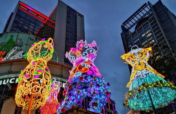 The striking Christmas Decelerations at Taipei Xinyi Shopping District . (Image: Courtesy of Xing-Mei in Keelung)