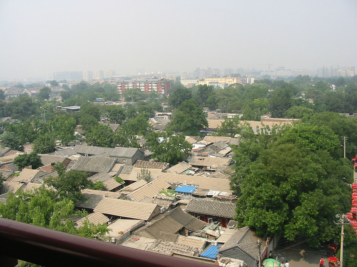 Hutong roofscapes as viewed from Drum Tower, Beijing. (Image: Ellywa via wikimedia CC BY-SA 4.0)