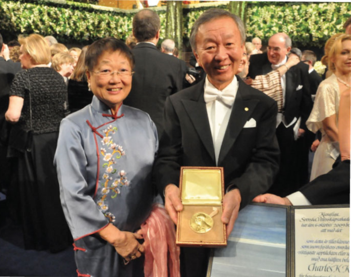 Charles Kao and his wife Gwen, after receiving the Nobel Prize in Physics. (Image: Chinese University of Hong Kong)
