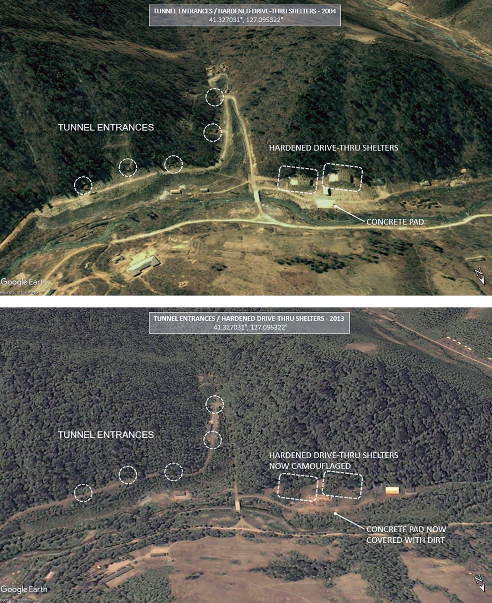 Activities near the Yeongjeo-dong base suggests that tunnels were being used to store missiles. Construction of new headquarters was also identified. (Image: Middlebury Institute of International Studies at Monterey)