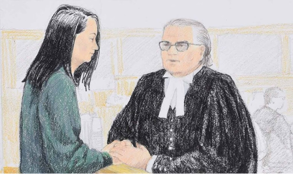 Courtroom sketch of Meng Wanzhou. (Image: YouTube/Screenshot)