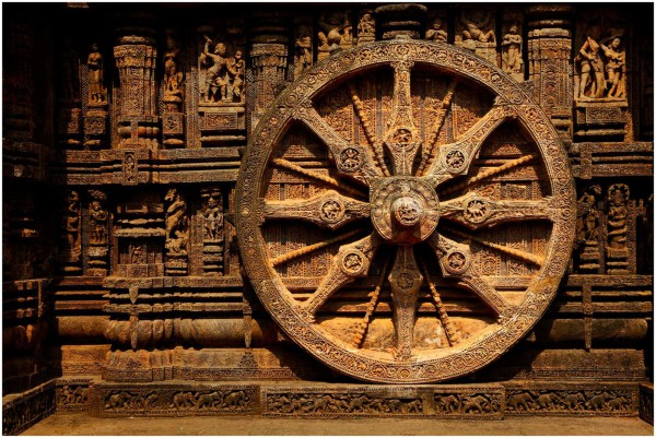 Dharma and Karma wheels are major motifs in Hindu and Buddhist traditions.(Image Credit: Ramnath Bhat [CC BY 2.0], via Wikimedia Commons)
