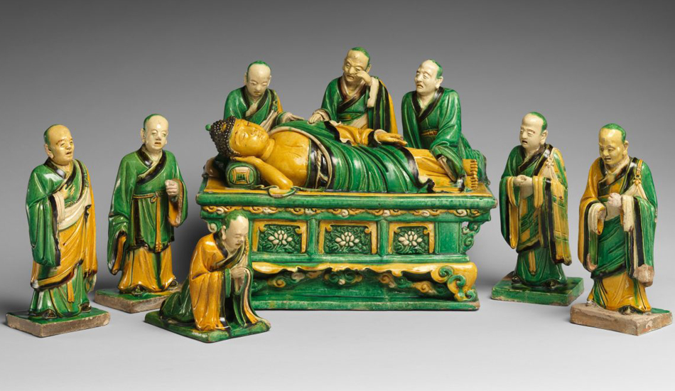 Buddha has passed away and is surrounded by his disciples. By Qiao Bin, Hongzhi period (1488–1505) of the Ming dynasty, dated 1503. (Image: MOMA)