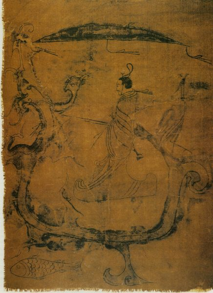 A Silk painting depicting a man riding a dragon, dated to the Zhou dynasty. (Image: wikimedia / CC0 1.0)