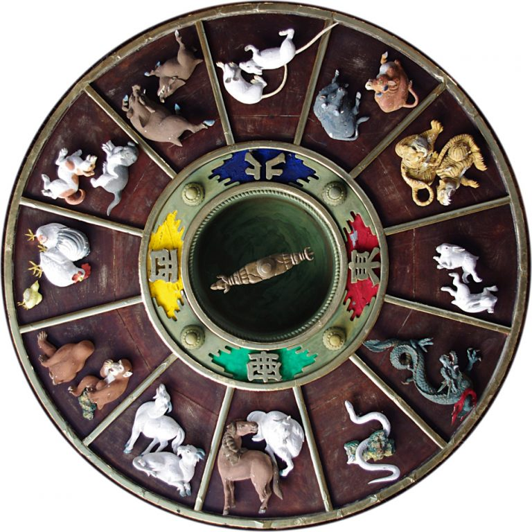 The carvings with Chinese Zodiac on the ceiling of the gate to Kushida Shrine in Fukuoka, Japan. (Image: Jakub Hałun via flickr CC BY-SA 4.0)