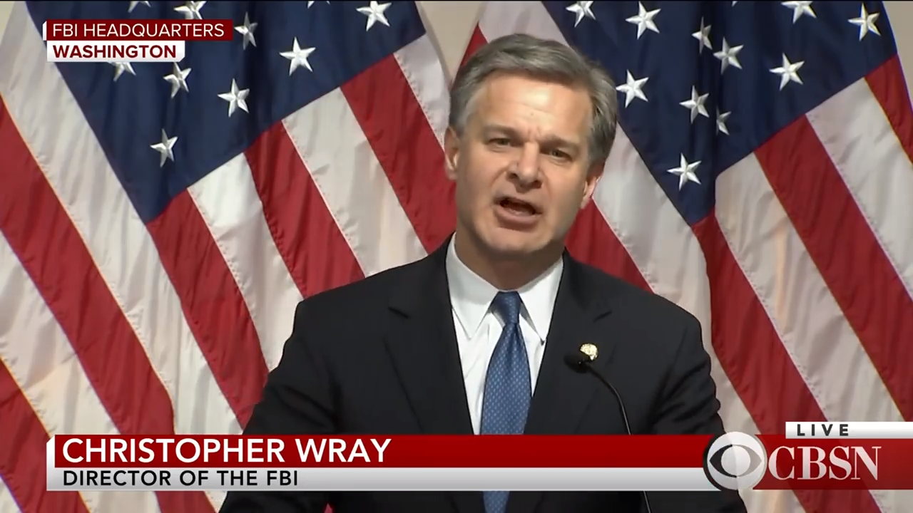 FBI Director Christopher Wray responds to Inspector General report 3-29 screenshot
